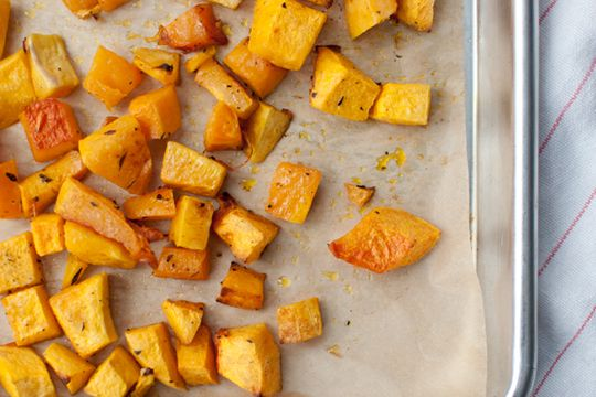 Roasted butternut squash (with coconut oil).   Make it here: http://www.eatlifewhole.com/2013/10/how-to-quit-your-job-and-roast-butternut-squash-cubes/