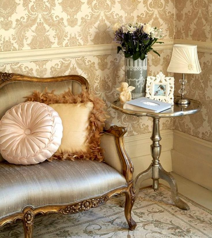 Classy Living Room with Damask Wallpaper