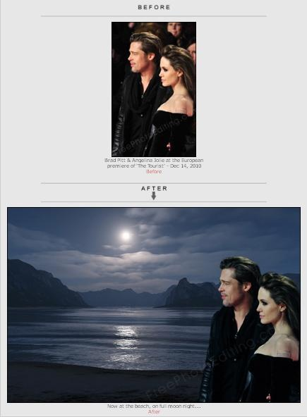 Brad Pitt / Jolie premiere party photo changed to romantic beach photo. We change or replace background, add or remove background .  http://www.freephotoediting.com/samples/change-background/081_brad-pitt-and-jolie-at-beach-at-night.htm