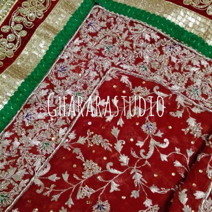 Gorgeous red dupatta with a mix of handwork and readymade border.  Drop a message for enquiry.  Call or whatsapp at 9971865919  #gharara #ghararastudio #ghararastudiobyshazia #gharara4u #ghararagirl #redgharara #bride #bridal #bridalgharara #wedding #weddinggharara #weddingdress #weddingdiary #handwork #handcrafted #zari #dabka #kundan #embroidery #redgreen #khadadupatta #bridalchunni