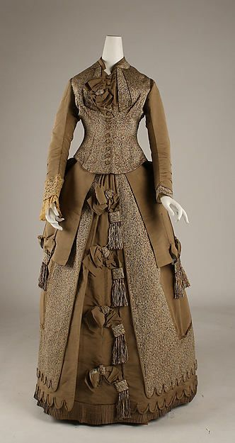 Afternoon dress Date: 1874–75 Culture: American Medium: silk, cotton Accession Number: 1979.367.1a, b