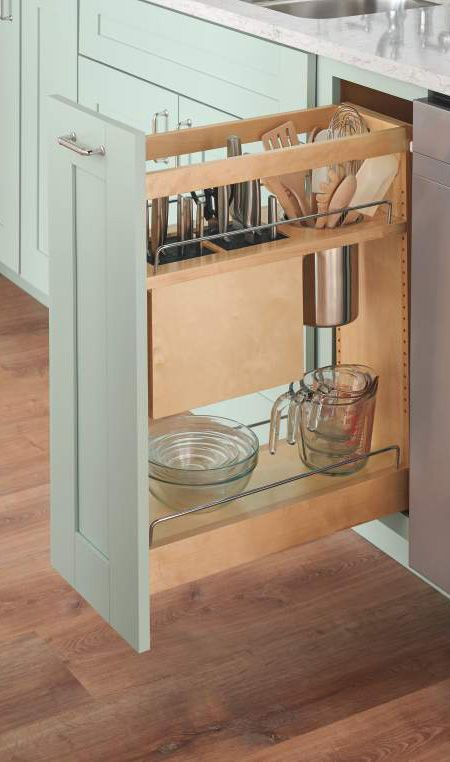 Our Base Pull-Out w/ knife block frees up counter space & is safe storage for sharp utensils.