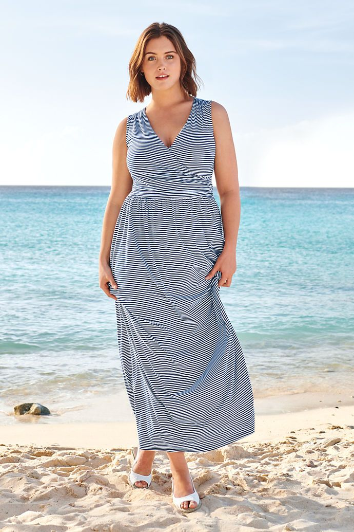 67a4ef66c0a Women s Sleeveless Knit Surplice Maxi Dress from Lands  End