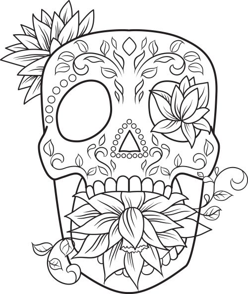 311 best Skull Day of the dead coloring! images on Pinterest
