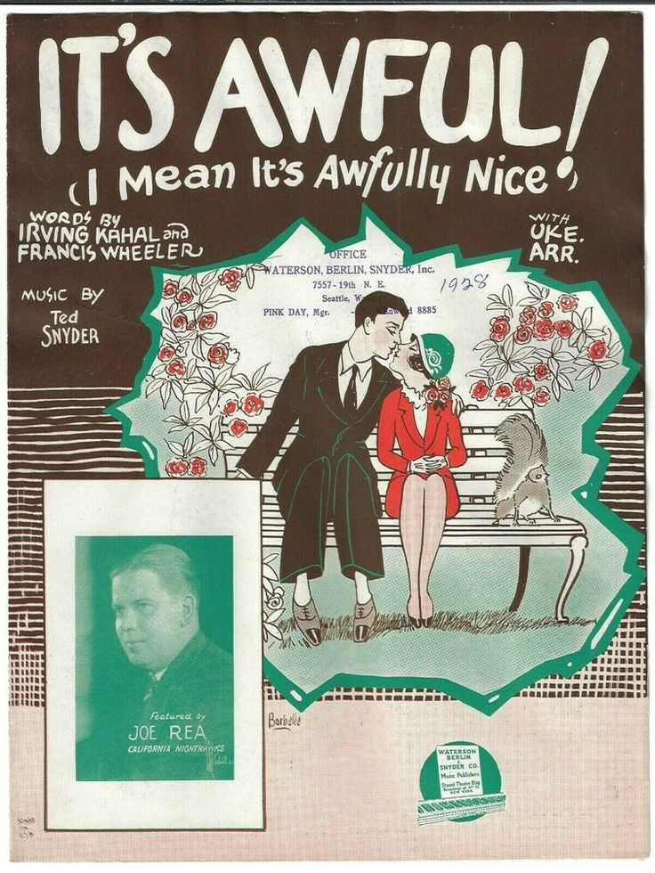 1928 JAY REA & THE NIGHTHAWKS Sheet Music IT'S AWFUL! I