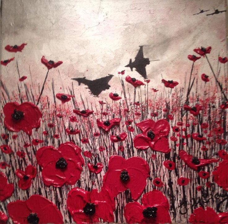 """""""Flight For Freedom"""" By Jacqueline Hurley  War Poppy Collection No.16 Port Out, Starboard Home  POSH Original Art"""