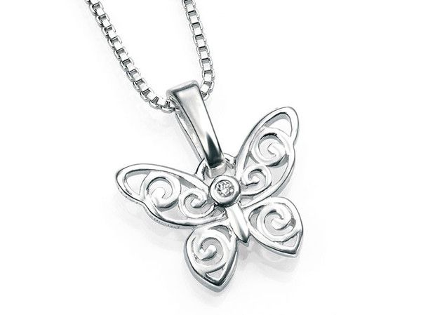 D for Diamond Silver Pendant - Filigree Butterfly