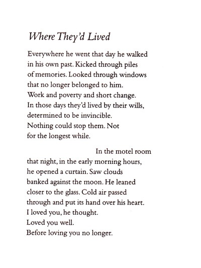 """Raymond Carver, """"Where They'd Lived"""""""