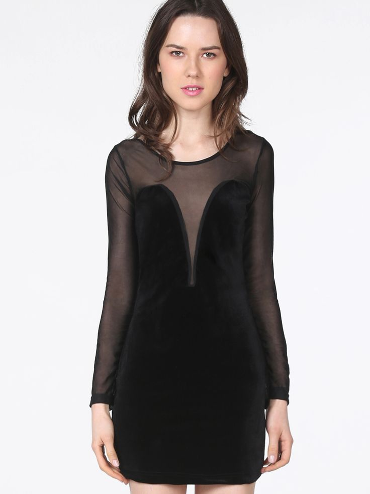 Black Contrast Sheer Mesh Yoke Long Sleeve Dress