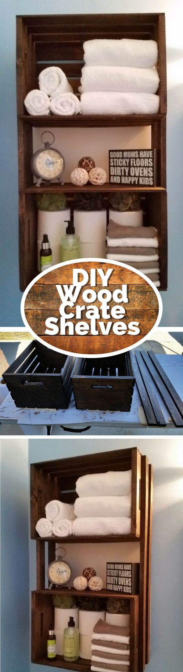 Check out how to build a DIY rustic towel rack from wood crates @istandarddesign