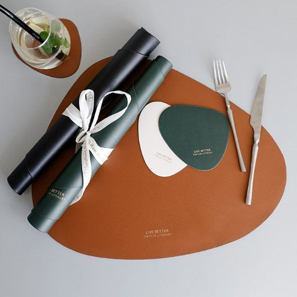 Minimalist Placemat Coaster From Apollo Box Placemats Leather Leather Decor