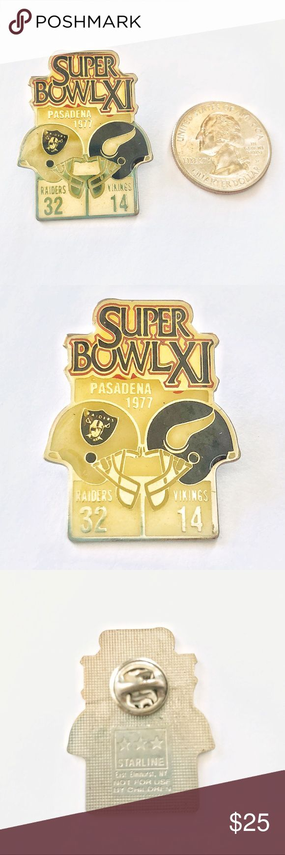VTG🏈Super Bowl XI NFL Vikings Raiders Enamel Pin True 70s vintage! NFL Commemorative 1977 Super Bowl XI Pin, Minnesota Vikings vs Oakland Raiders in Pasadena California! In amazing condition. A little yellowing from age, common for true vintage items! Offers welcome! 🌟🏈🌟 Tags: football sports AFC NFC broncos packers chiefs patriots eagles niners rams chargers buccaneers dolphins bills a's Seahawks Texans cowboys Dallas Denver Philadelphia 70's VTG favre Madden Other