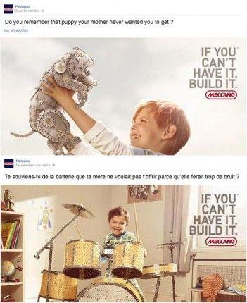 Depuis plus de 110 ans, la marque créée par Frank Hornby est une valeur sûre. Plus qu'un jouet, Meccano est un système ludique et éducatif qui permet aux jeunes et aux moins jeunes de construire leur imagination. Le système unique autrefois breveté s'est enrichi de plusieurs gammes pour la plus grande joie de ses fans… Depuis bientôt 2 ans, Meccano fait appel à atnetplanet pour construire sa relation avec ses fans sur les réseaux sociaux https://www.facebook.com/Meccano.