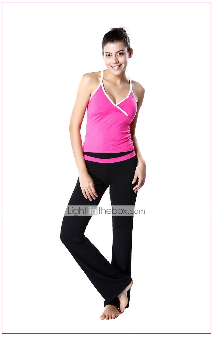 yogayf-japanese stof rayon yoga pak (magenta v-hals vest + zwart sport yoga broek)