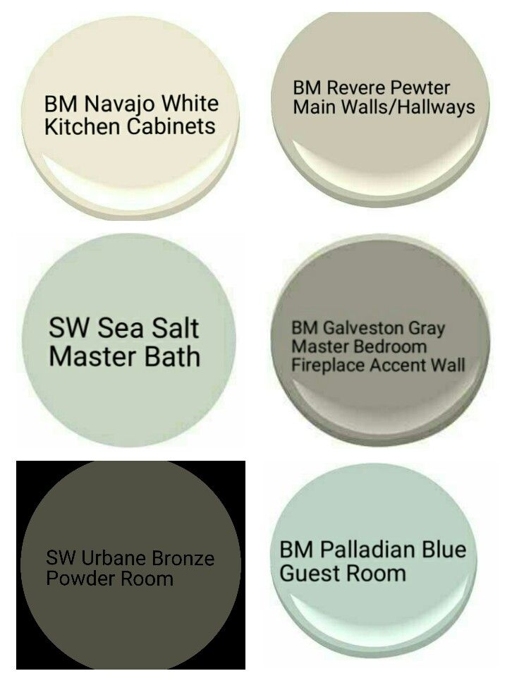 Whole House Paint Pallette revere pewter, urbane bronze, navaho white, sea salt, galveston gray, palladian blue
