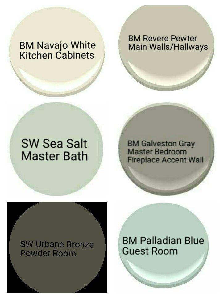 Whole House Paint Pallette revere pewter, urbane bronze, navaho white, sea salt, galveston gray, palladian blue