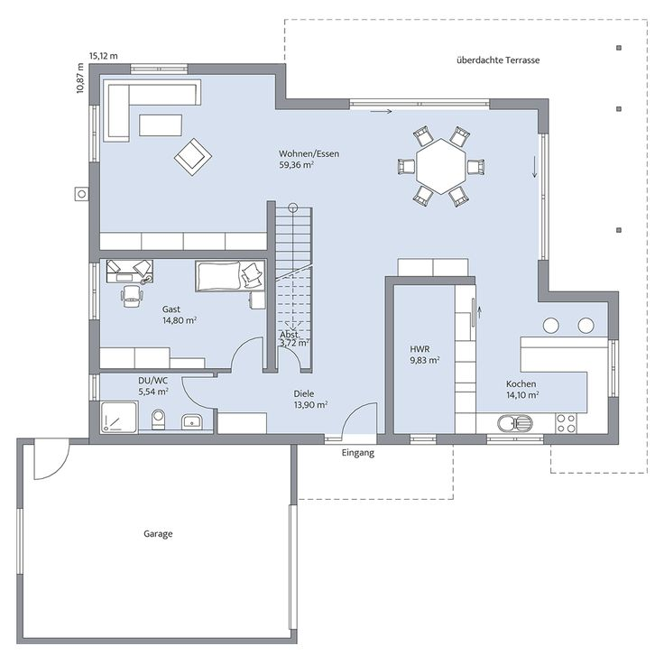 Spectacular Haus Lehmann Grundriss EG bemasst col hg