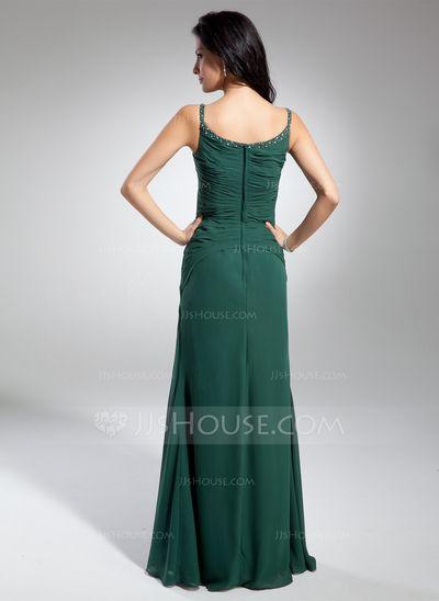 Vestidos princesa/ Formato A Decote redondo Longos De chiffon Vestido de Férias com Pregueado Bordado Frente aberta (020032265)