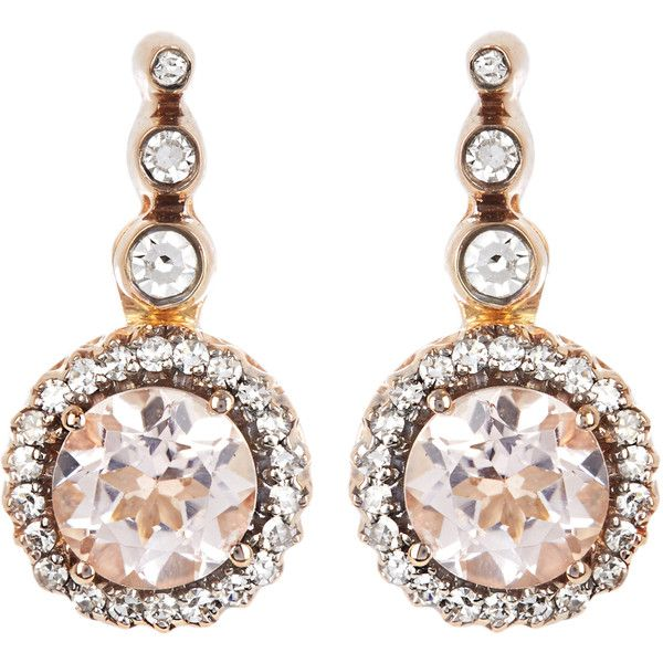 Selim Mouzannar Diamond, morganite & pink-gold Beirut earrings ($2,264) ❤ liked on Polyvore featuring jewelry, earrings, rose gold jewellery, selim mouzannar, rose gold earrings, earring jewelry and rose gold diamond earrings