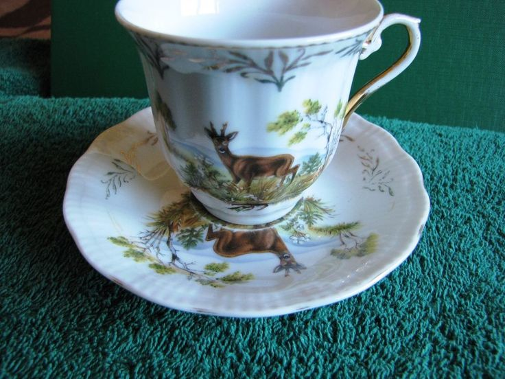 ANTIQUE Factory K & M hand made Czech republic Cup and Saucer Deer Painted #KM