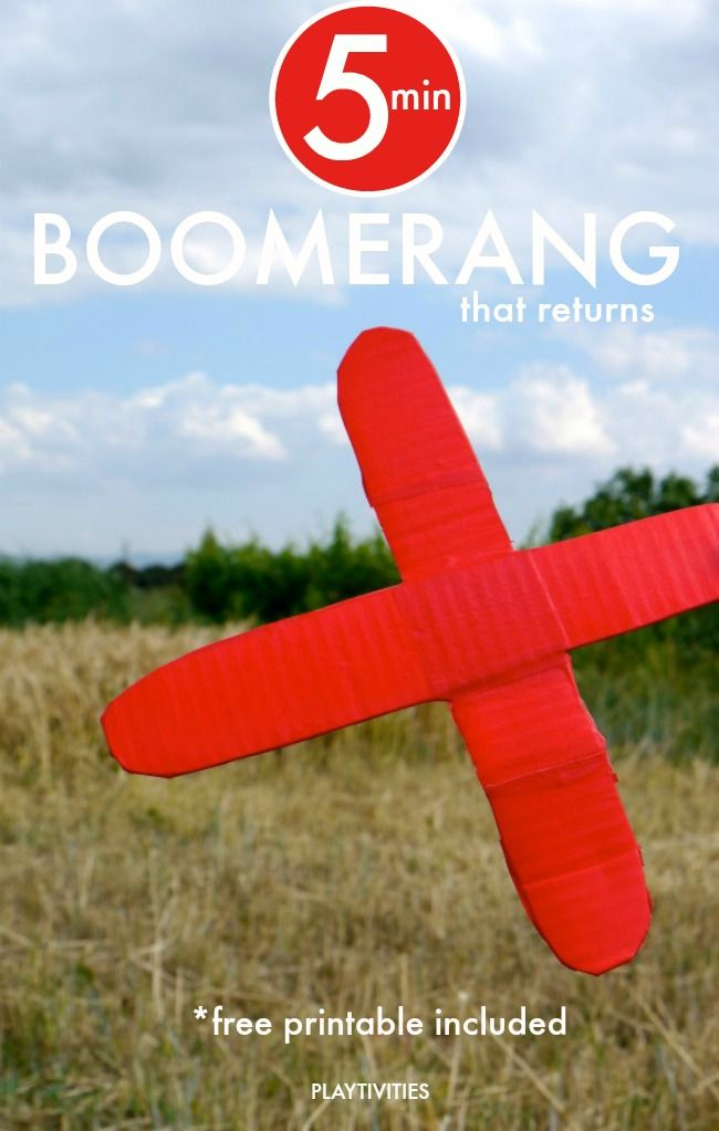 Learn how to make cardboard boomerang that works. Template included.
