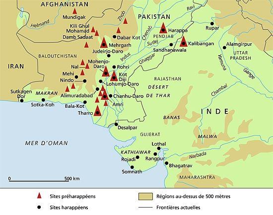Civilisation de la vallée de l'Indus [modifier]  De -5000 à -1900 av. J.-C.  La civilisation de la vallée de l'Indus, dite aussi civilisation harappéenne, était une civilisation dont l'aire géographique s'étendait principalement dans la vallée du fleuve Indus dans le sous-continent indien (autour du Pakistan moderne).