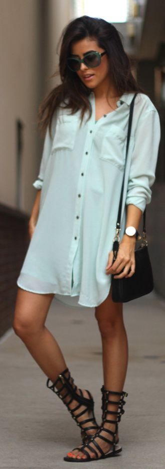 Gina Tricot Mint Button-down Loose Chiffon Shirt Dress