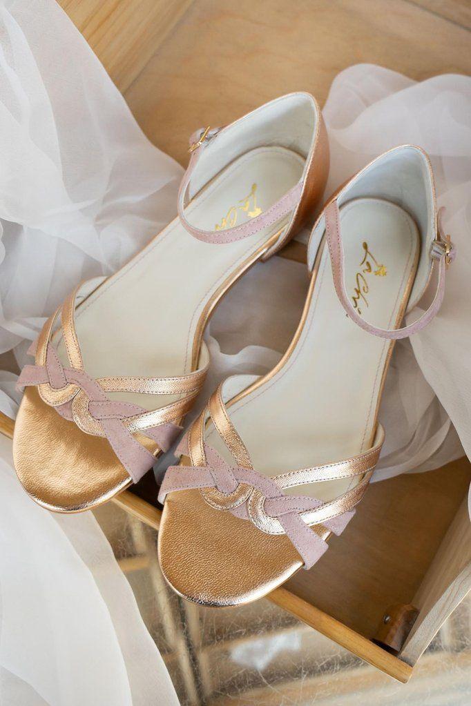 Braut Sandale Mit Flecht Muster In Altrose Und Gold Zur Hochzeit Boston Braut Sandalen Brautschuhe Hochzeitsschuhe