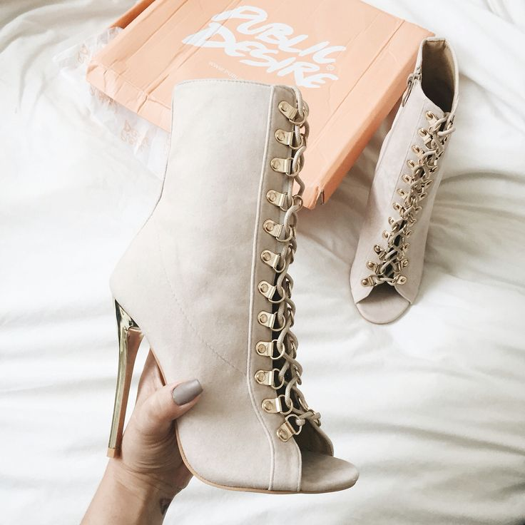 Public Desire Nude Lace Up Booties