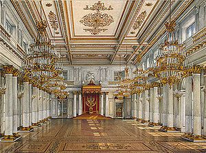 St George's Hall (13 on plan above), the principal throne room of the Tsars of Russia. The room was a late addition to the Palace for Catherine II.