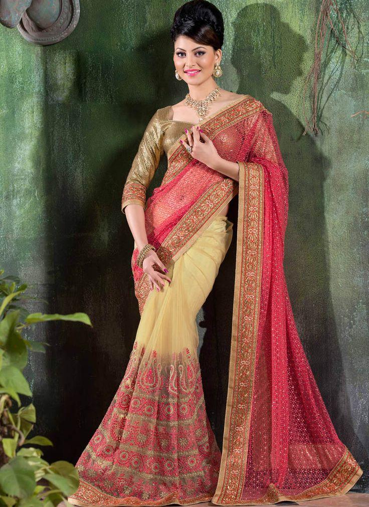 Pink Net Saree With Resham Work