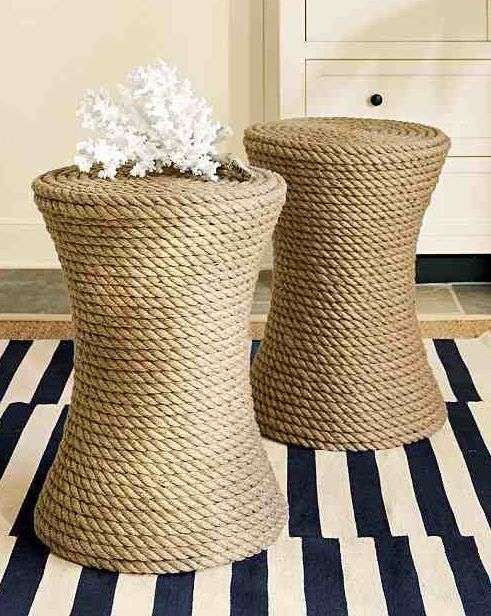 Roping Design ~ love these accent stools for extra seating!  DIY? Two clay flowerpots joined at the bottom ends and round piece of board for the seat. Finished with the rope glued all around the stool.