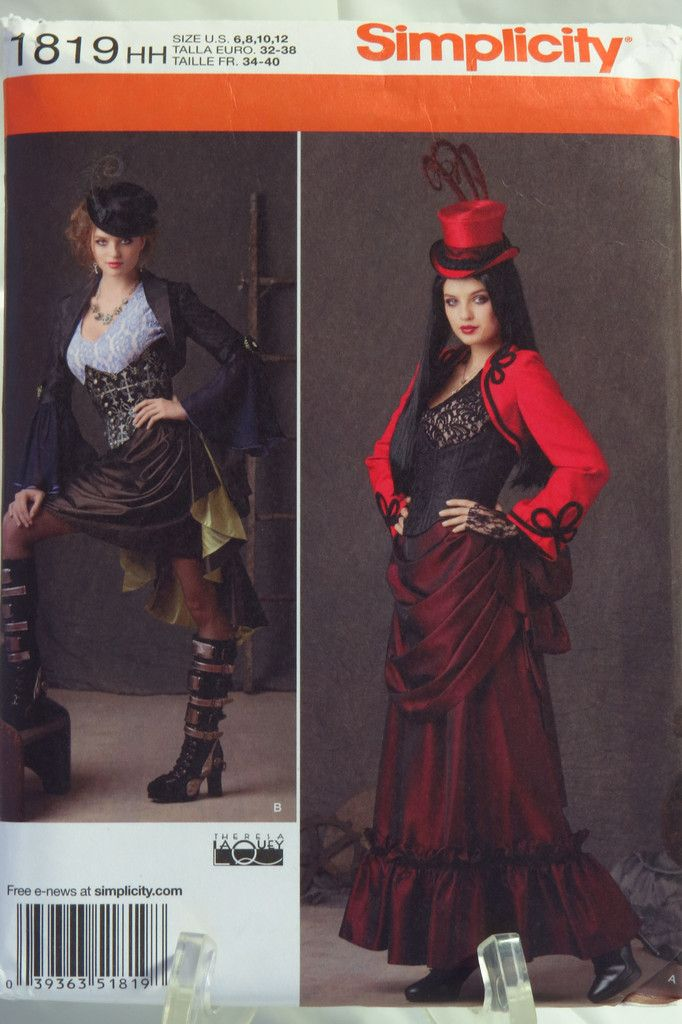 Simplicity 1819 Misses' Steam Punk Dress and Hats Costume
