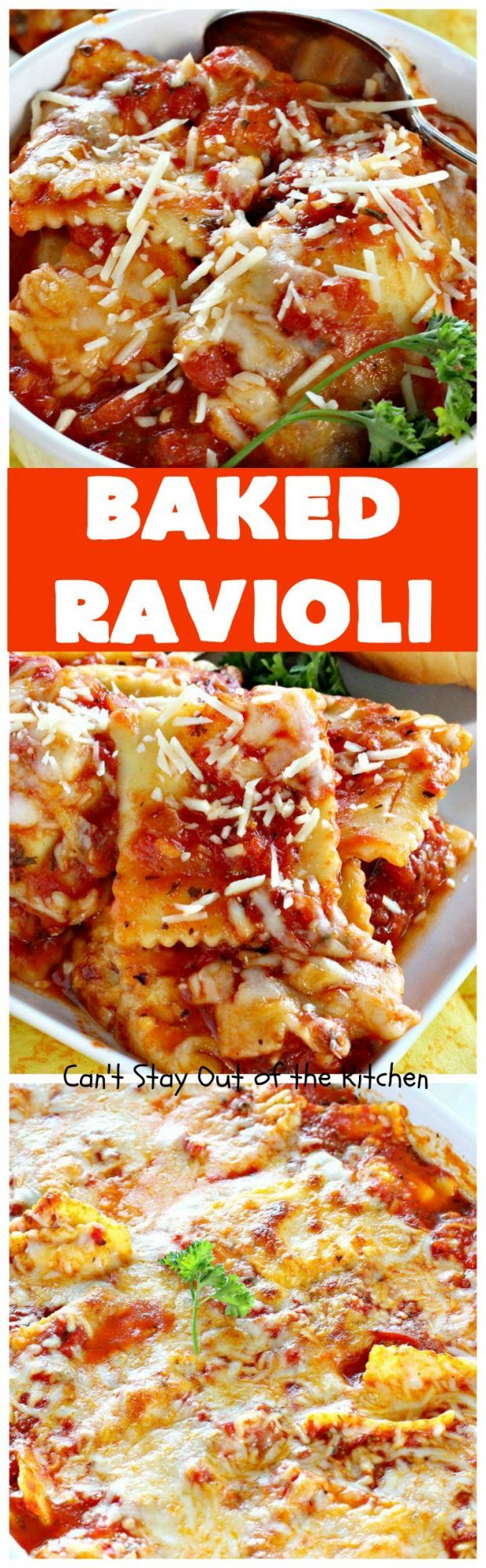 Baked Ravioli | Can't Stay Out of the Kitchen | fabulous #MarthaStewart inspiration that's kid-friendly & delicious. Perfect #pasta for #MeatlessMondays. #cheese #ravioli