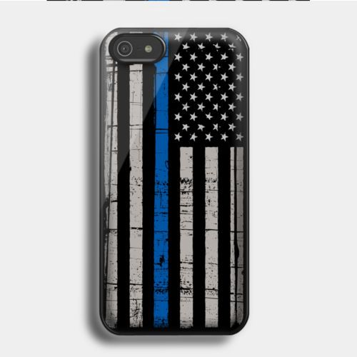 Thin-blue-line-flag-for-iPhone-4-4S-5-5C-5S-6-amp-Samsung-S3-S4-S5-S6-Case