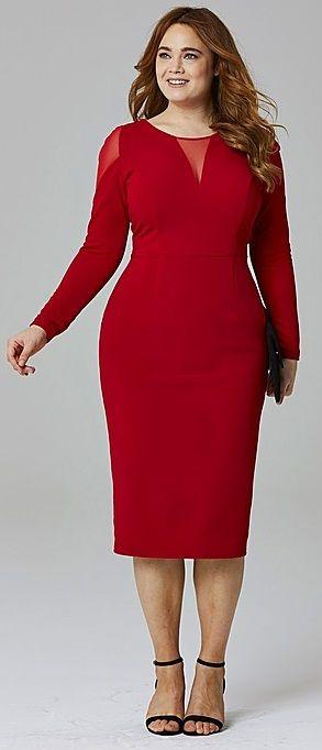 Plus Size Mesh Insert Dress