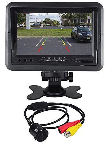 """Rockville Flush Mount/Keyhole Universal Backup Camera+7"""" Dash Mount Car Monitor. Rockville RBC2 Flush Drill Mount Rearview Back-up Camera. Night Vision: PC6070 Image Sensor. Waterproof & Fog Resistant. Easy Installation. Auto Turn-on. 420 TV Lines. 648H x 488V. Low Light Sensitivity: 0.01 LUX. 170° Wide View Angle. True Color Reproduction. Automatic White Balance. Guidance Distance Grid. Includes: DC Power Cable. RCA Video Control Cable. Mounting Screws. Rockville RMD701 7"""" Dash Mount..."""