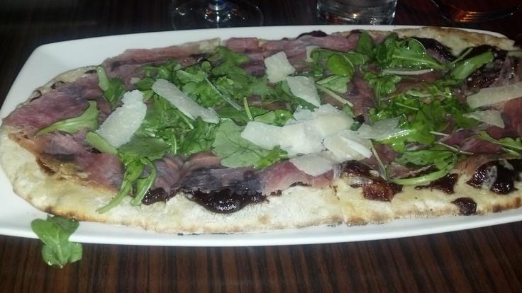 Zinc American Kitchen's Fig & Prosciutto Pizza with arugula, blue ...