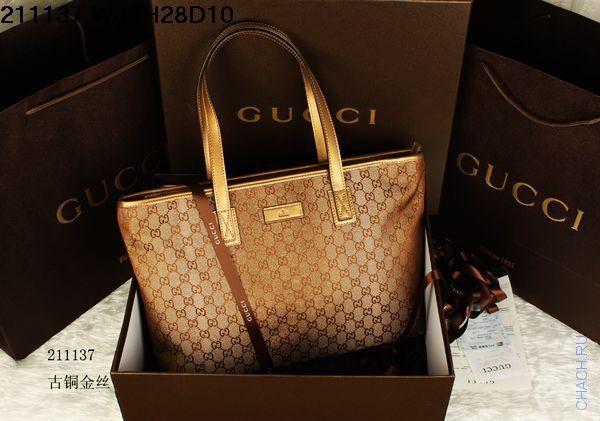 Сумка Gucci бронзового цвета из материала аналогичного оригинальному с элементами из натуральной кожи