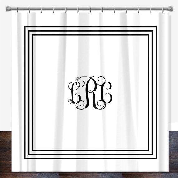 Taille de douche Standard douche monogramme classique Rideau 70 x 70, personnalisée rideau de douche, rideau de douche personnalisé, sur mesure personnalisé