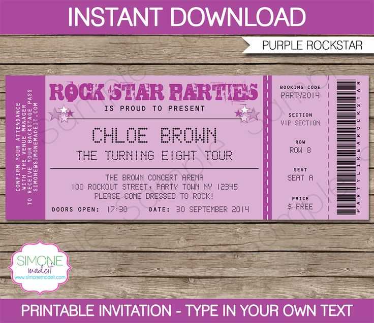 25 Best Ideas about Concert Ticket Template – Sample Concert Ticket