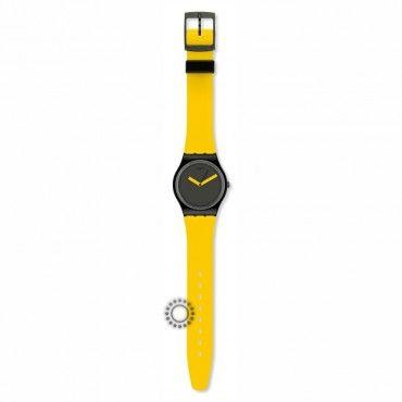 Unisex νεανικό ρολόι Yellow n Brown του ελβετικού οίκου SWATCH από πλαστικό, σε κίτρινο και μαύρο χρώμα. Εγγύηση 2 ετών της επίσημης αντιπροσωπείας #Swatch #κιτρινο #σιλικονη #ρολοι