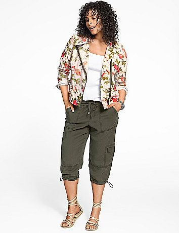 The season's favorite cargo capri gets a feel-good makeover in silky and lightweight tencel construction. Pull-on style with an elastic waist and drawstring closure, with six cargo pockets and drawstring cuffs. lanebryant.com