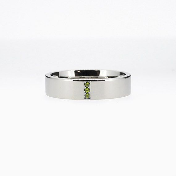Narrow Line Ring with Green Diamonds in Palladium
