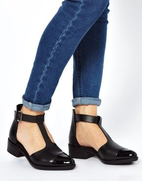 Image 3 of ASOS MASTERPIECE Leather T-Bar Flat Shoes