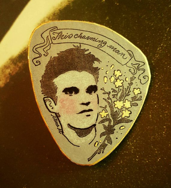 Morrissey handmade pin the smiths Moz by flowersANDgore on Etsy