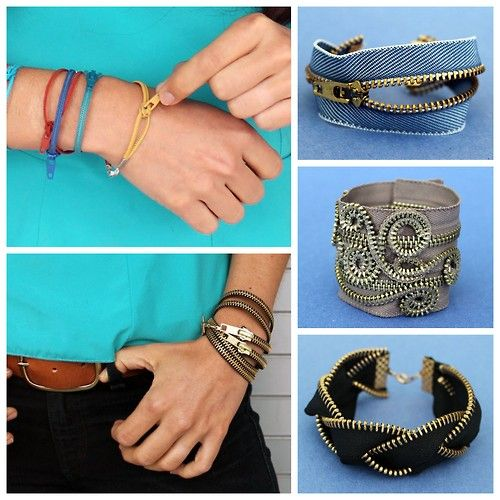 DIY Five Zipper Bracelets Tutorials from Brit + Co here. *For lots more zipper crafts from jewelry to fashion go here: truebluemeandyou.tumblr.com/tagged/zippers