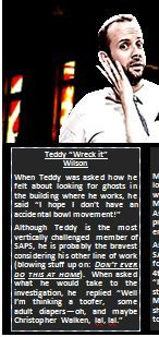 Teddy Wilson in a mock ghost hunting at 299 Queen W.