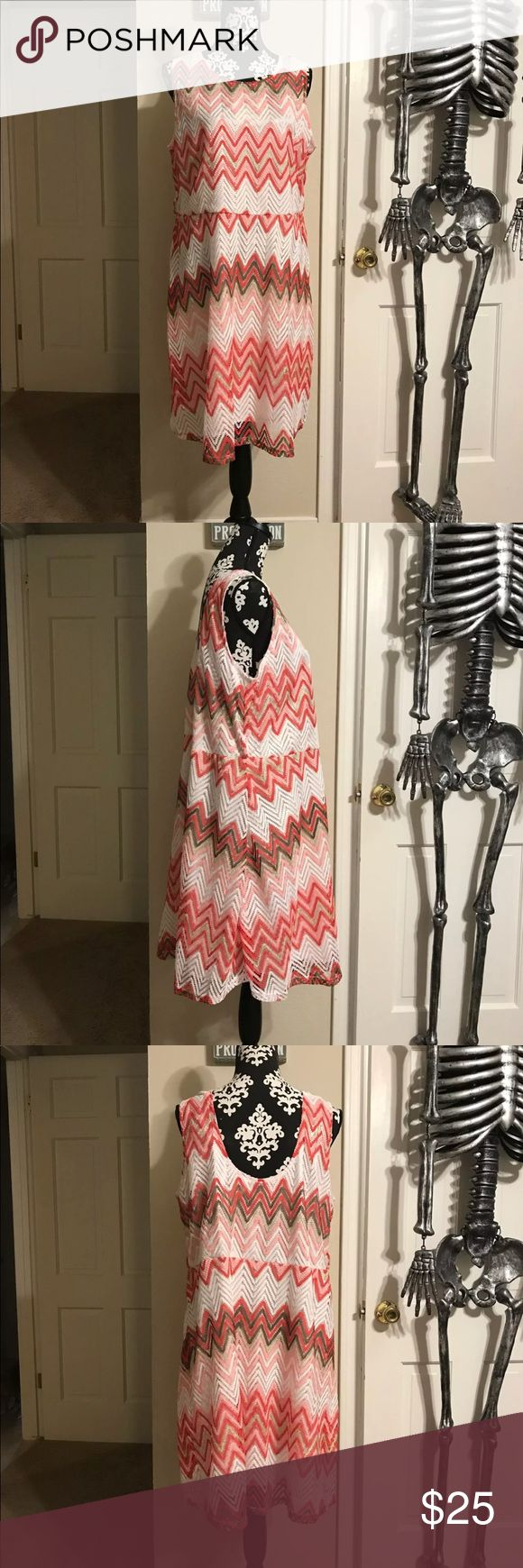 NWT PLUS SIZE CHEVRON DRESS SIZE 3XL NWT PLUS SIZE CHEVRON DRESS SIZE 3XL LINED WHITE, CORAL, PINK, GOLD & GREEN •THERE ARE LOOPS FOR A BELT BUT IT DID NOT COME WITH A BELT •HIGH NECK SLIGHT SCOOP BACK •APPROXIMATELY 22 ACROSS THE CHEST AND 25 WHERE THE WAIST WOULD FALL SMOKE FREE BUT PET FRIENDLY HOME Dresses Midi