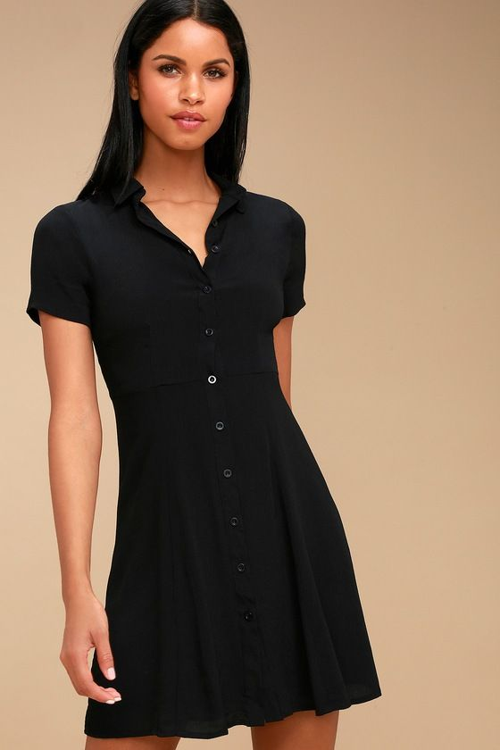 33d9b2e46b9 The Daily Delight Black Collared Button-Up Skater Dress is just as cute in  the office as it is out-and-about! A collared neckline starts off this  adorable ...